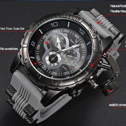Vogue Fashion V6 3D surface Case Luxury Black Male Hour Clock Analog Military Man Business Casual Wrist watch reloj Gift(Hong Kong)