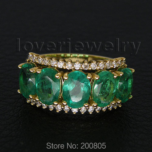 Jewelry Sets Vintage Oval 5x7mm 18k Yellow Gold Diamond Green Emerald Ring WU209<br><br>Aliexpress