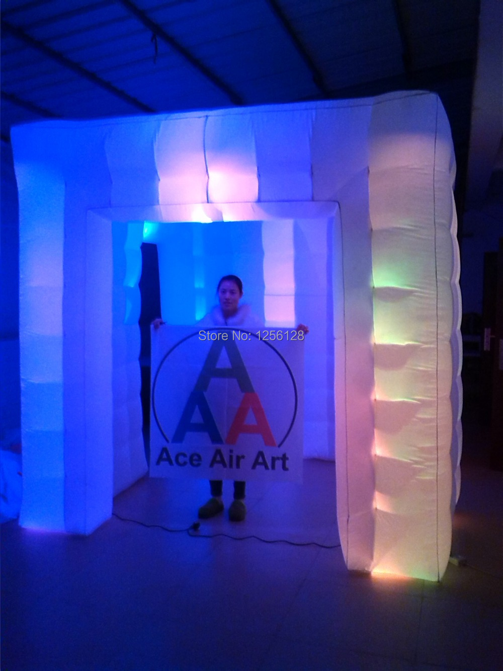 Trade show equipment inflatable photo booth with led lighted 3 doors 2.5 m x2.5 mx 2.5m(China (Mainland))