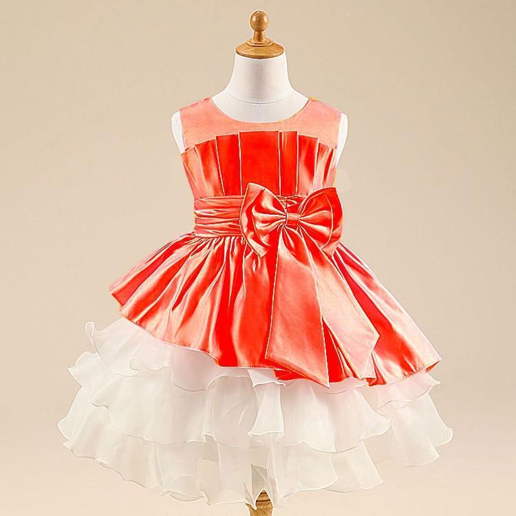 10pcs Lot Free Shipping 2015 Summer New Style Cheap Sleeveless Bow Princess Dresses Kids Girls Wedding and Party Layered Dress(China (Mainland))