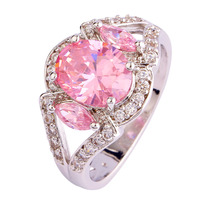 Wholesale Elegant Romantic Oval Cut Pink Topaz 925 Silver Ring Size 9 New Fashion Jewelry 2014