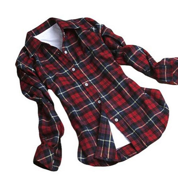 Plus size xxl new women ladies casual shirts button down for Plus size plaid flannel shirt