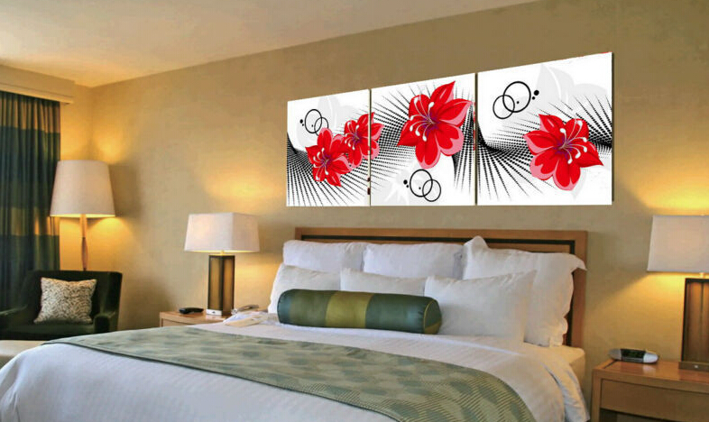 modern abstract canvas art red flowers wall decor large living room