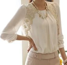 2016 mode en mousseline de soie chemises nouvelle Turn - down col chemisier blanc marque femmes dentelle lâche , Plus la taille s - xxl Casual Blusas Femininas(China (Mainland))