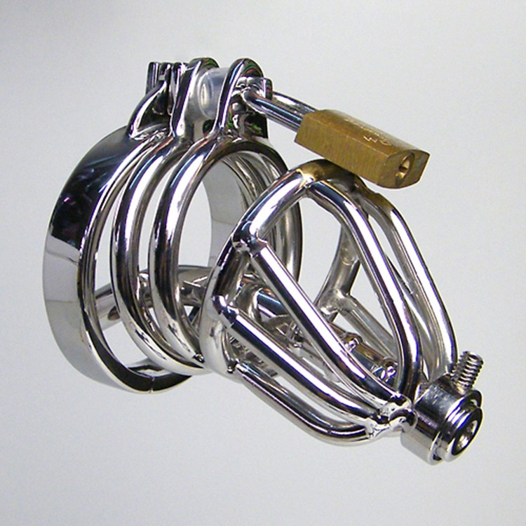 2016 Latest Design Stainless Steel Male Chastity Device Penis Lock Anti-Erection Cock Cage BDSM Sex Toys For Men1
