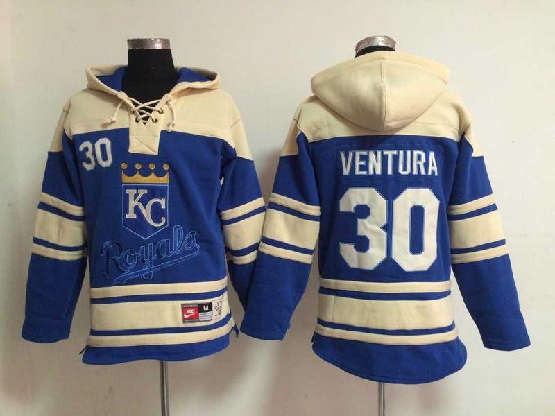 Kansas City Royals Mens Jerseys #30 Yordano Ventura Blue Baseball Hoodies4423(China (Mainland))