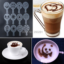 12Pcs/set Creative Nice Coffee Barista Stencils Template Cappuccino Coffee Barista Stencil Template Strew Pad Duster Spray Tools