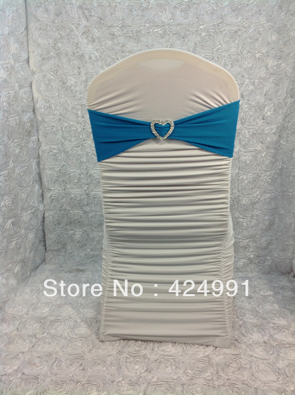 100pcs Turquoise Blue Lycra Chair Bands with Heart Shape buckle ,chair cover Lycra Bands for Weddings Events Decoration(China (Mainland))