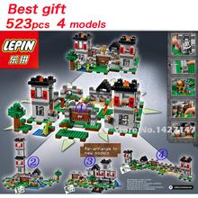 NEW 523pcs 4 models My word minecraft tree house building blocks sets toys Minifigures self-locking education bricks(China (Mainland))