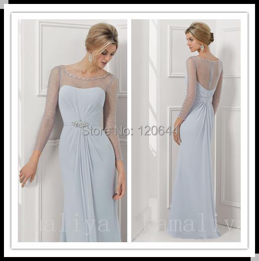Custom Made 2014 New Long Sleeve Evening Dress See Corset Prom Gown Illusion Back Formal Chiffon Celebrity - SuZhou Kamaliya Love Store store