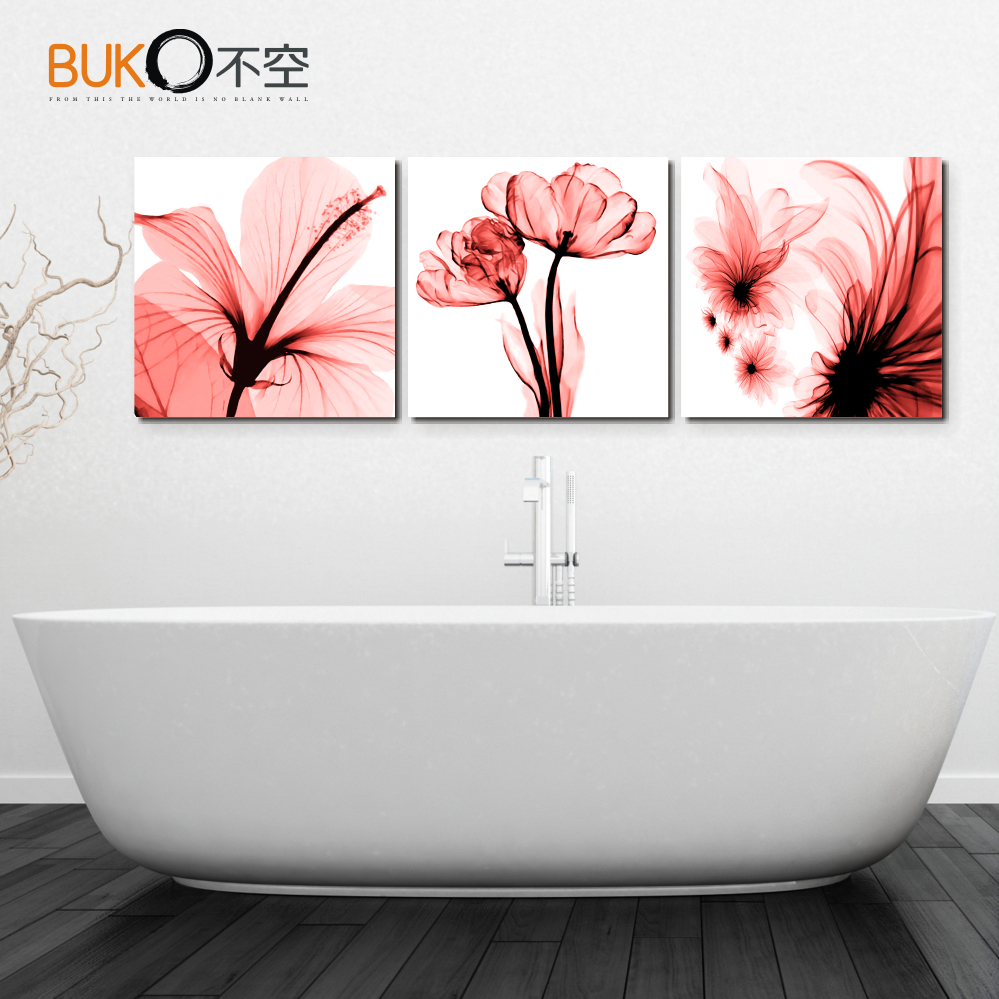 Canvas painting home decoration Wall Art Deco sofa background floral pattern tulips bright colors beautiful flowers(China (Mainland))