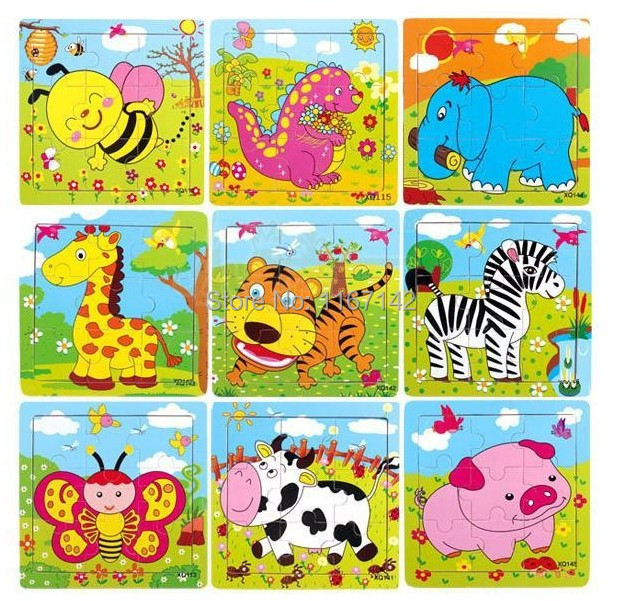 wood animal puzzles for children and baby puzzles cartoon puzzles learning and educational toys children  gifts, free shipping