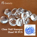 50pcs 2 8cm Clear Jelly Nail Art Stamper Head Transparent Silicone Nail Stamping Refill Nail Tools
