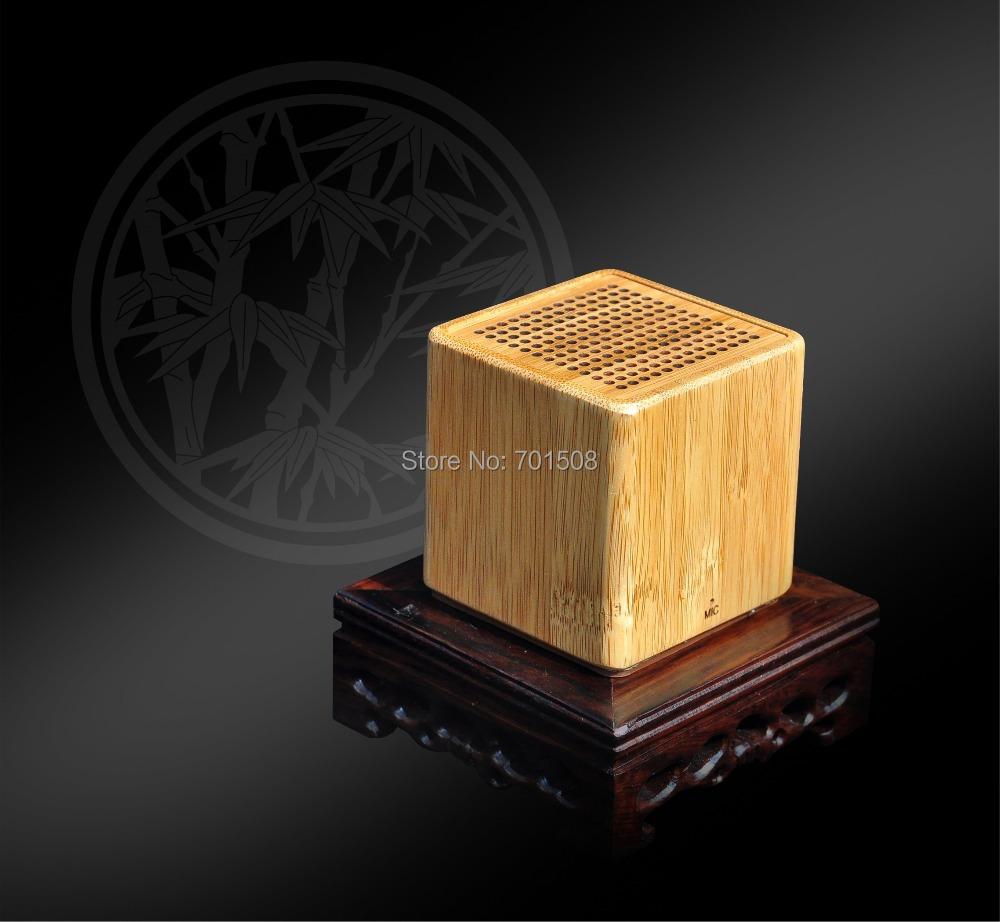 Hight quality portable wireless mini Cube promotion bamboo bluetooth speaker bluetooth lautsprecher(China (Mainland))