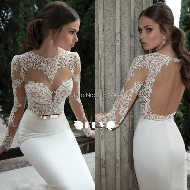 Buy hot sale sexy sheer illusion applique for Long sleeve lace wedding dresses for sale
