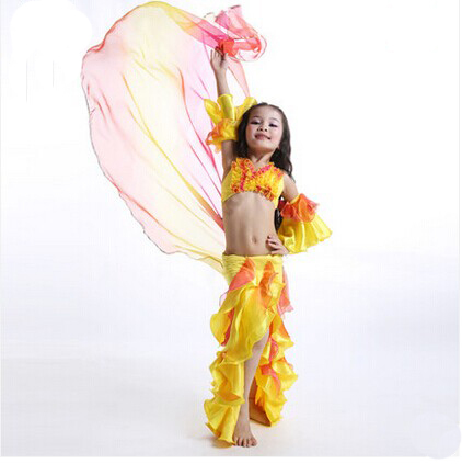 Free-shipping Sexy Belly Dance Costumes for Child or Kids nice Flowers shape Children dancing practising Clothes Set(China (Mainland))