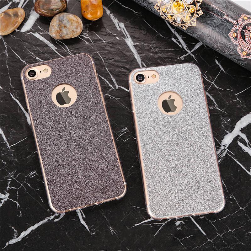 Чехол силиконовый с серыми блёстками для iPhone 7