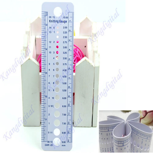 1pc US UK Canada Sizes Knitting Needle Gauge Inch cm Ruler Tool All In One(China (Mainland))