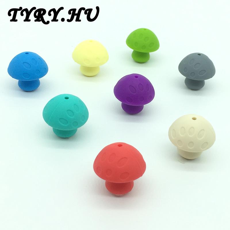 10pc silicone beads Mushroom shape teething toys baby teething Accessories nursing toys DIY baby shower gift(China (Mainland))