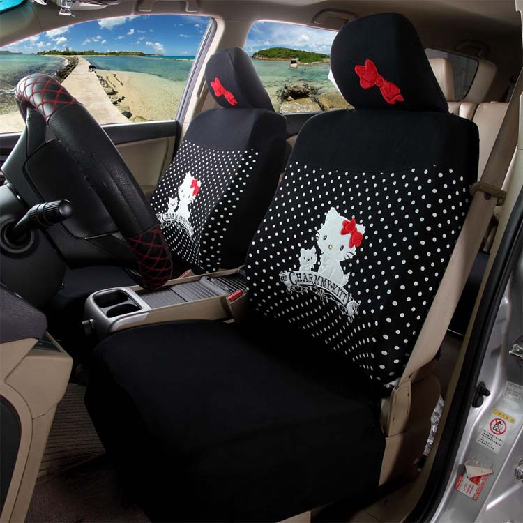 black with white spots hello kitty car seat covers accessories styling for renault logan lada. Black Bedroom Furniture Sets. Home Design Ideas