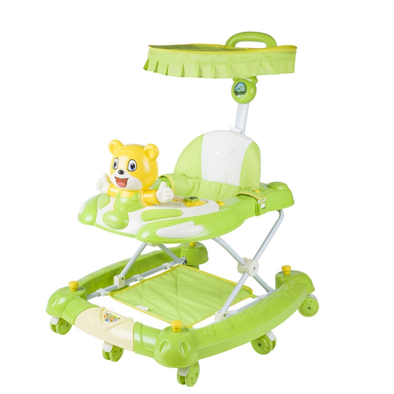 New !!! 6-18 Months Baby Walker Multifunctional Adjustable Height Walker Stroller Anti Rollover Cartoon Baby Music Walkers(China (Mainland))
