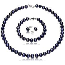 Women's Freshwater Pearl Jewelry Sets with 9-10MM Black Pearl Necklace and 925 Sterling Silver Earrings Fine Jewelry