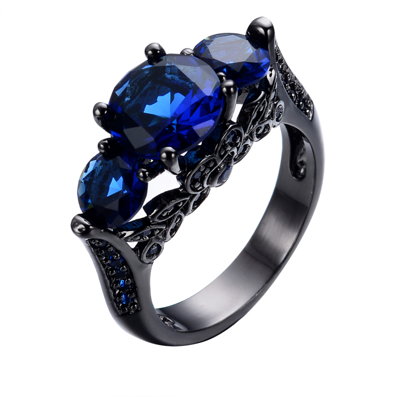 Size 6/7/8/9/10 Blue Sapphire Ring Anel Aneis for Women Vintage Style Jewelry Black Gold Filled Rings Wedding Band RB0104<br><br>Aliexpress