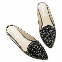 Buy New Casual Women Slippers Big Size 43 PU Flat Heel Summer Shoes Woman Fashion Bling Slippers Point Toe Black White Womens Shoes for $16.70 in AliExpress store