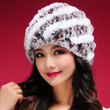 New Women Warm Knit Rabbit Fur Hat Cap headgear headdress Various Fashion Women Hats Free Shipping(China (Mainland))