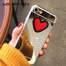 Buy iPhone 7 Plus DIY Red Heart Love Phone Case iPhone 6 6S Plus 4 4S 5 5S SE Soft TPU Mirror Phone Cases Back Cover Coque for $1.37 in AliExpress store