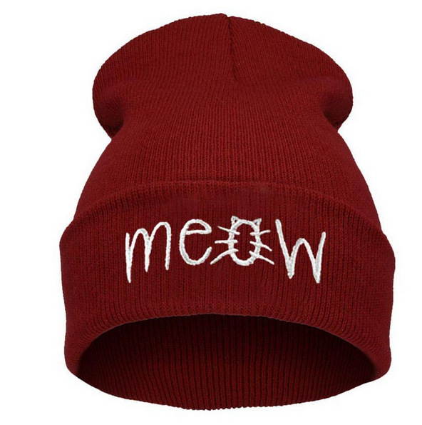 Hot Sale Fashion quality Winter Hat Women Men MEOW Beanie Knitted Warm Wool Cap Hip hop