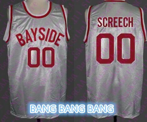 high quality Men's #00 SCREECH Jersey #25 ZACK MORRIS #23 AC slater basketball jerseys gray Stitched Jerseys(China (Mainland))