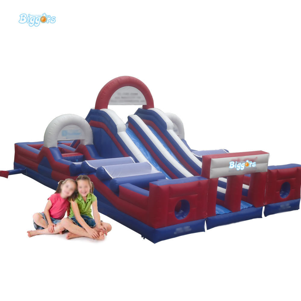 FREE SHIPPING BY SEA Factory Direct Inflatable Obstacle Course Inflatable Slide With Double Lane(China (Mainland))