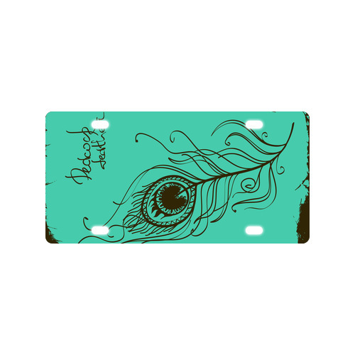 Vogue Design Beautiful Peacock Feathers Metal Car License Plate Cover 12 x 6 Free Shipping(China (Mainland))