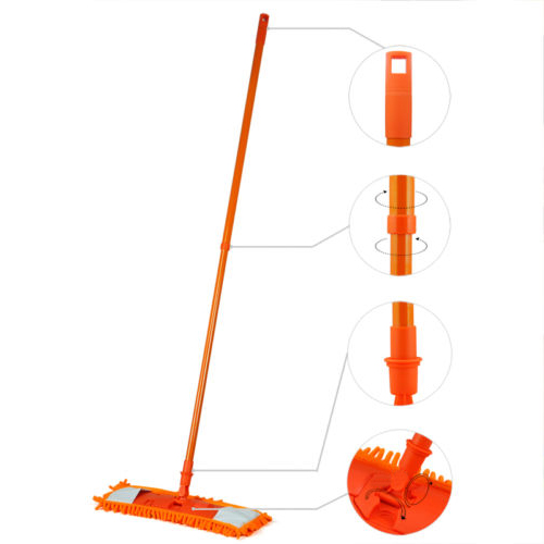 NEW Extendable Microfibre Mop Cleaner Sweeper Wooden Laminate Tile Floor Wet Dry - Orange(China (Mainland))