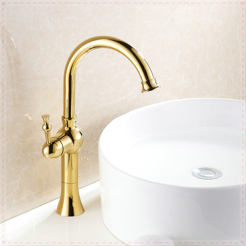 Gold polished countertop bathroom sink faucet swivel spout for Gold bathroom sink taps