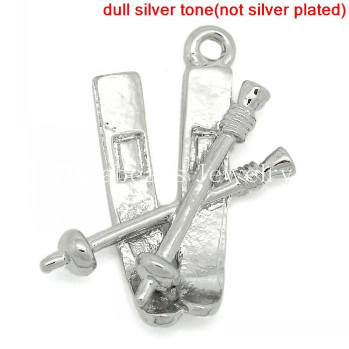 Charm Pendants Snow Sport Ski Pole Silver Tone 23x18mm,20PCs (B27529)8seasons(China (Mainland))
