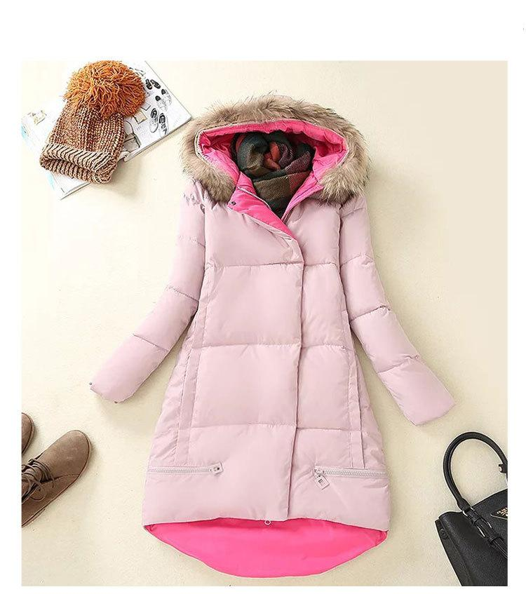 In The Winter Of 2016 And New High-end Custom Trend Line Long Hooded Coat Color Long Sleeved Cotton Female Space Cotton Dress