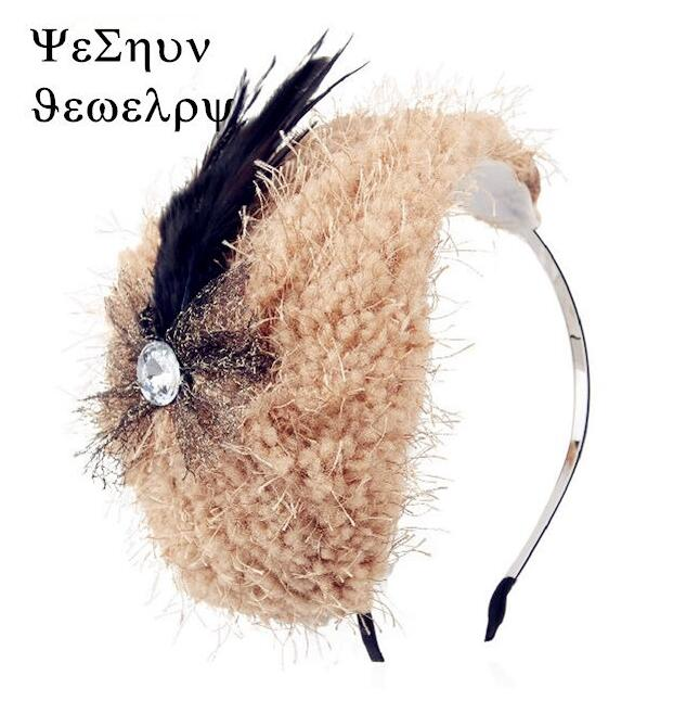 2015 new feather bows hair band headbands for women,Winter knitting wool hat hair band beautiful Bud silk hair accessories(China (Mainland))