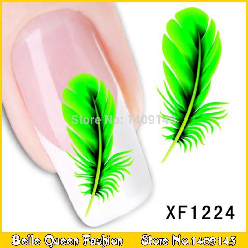 Nail Art Water Transfer Feather Decals Water Transfer Nail Sticker Set Nail Art XF1224(China (Mainland))
