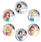 Mix 6pcs 2015 Princess Collection Series - Ariel Aurora Cinderella Belle Jasmine Snow White Princess Coin Plated Silver Coins(China (Mainland))