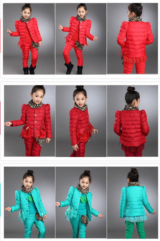 New product hot sales children's girls clothing suit set child Sports warm down jacket+Render unlined upper garment+ pants(China (Mainland))
