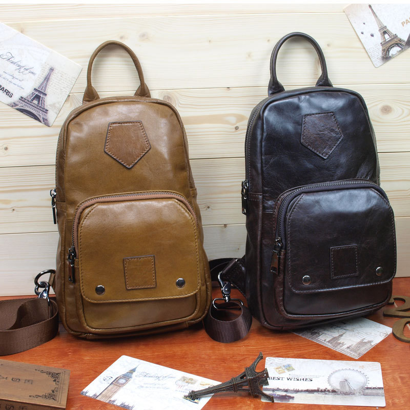 Фотография October New Pattern Head Layer Cowhide Concise Lovers Genuine Leather Chest Personality Time Single Shoulder Oblique Satchel