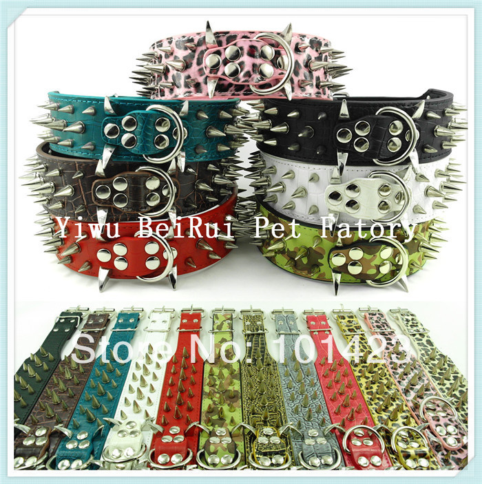 Free shipping Berry Real leather pit bull large dogs golden sharp spikes pet collar(China (Mainland))