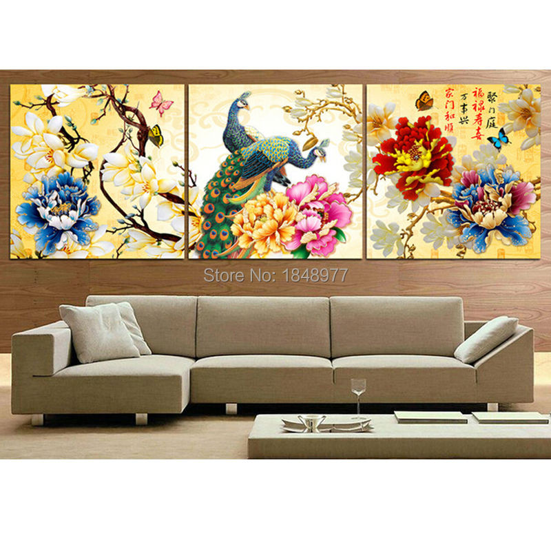 3 piece cuadros deocracion chinese painting home decorative wall art paint on canvas print peony flowers peacock no frame(China (Mainland))