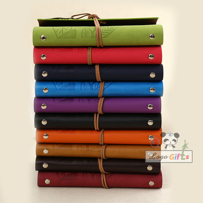 Vintage notebook classical leaf Leather pirate cover travel journal multi colors witha gift box best Calendars, Planners(China (Mainland))