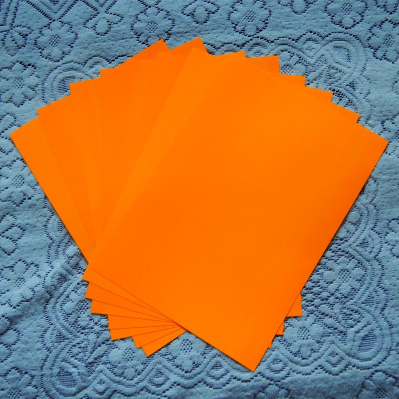 (A4*8pcs) Neon Orange Color Only PU Vinyl Heat Transfer Vinyl Paper For Clothing Iron On Vinyl for T shirt Heat Press Vinyl(China (Mainland))