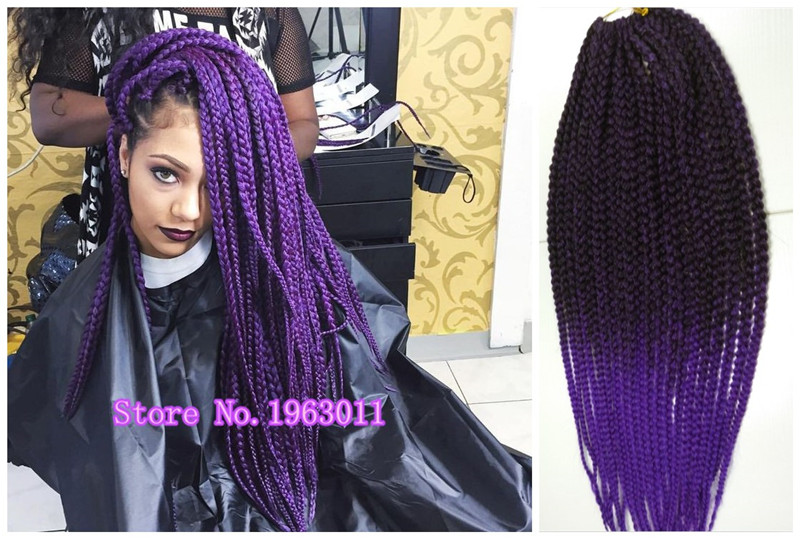 Purple Crochet Box Braids : ... Purple Box Braids, Synthetic 3S BOX Braids Jumbo Crochet Braids Hair