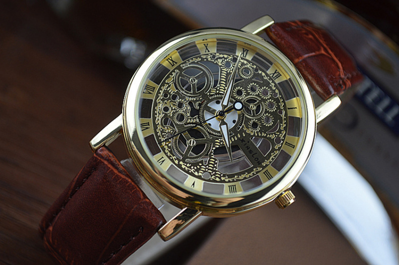 2015 New Famous Brand Winner Luxury Fashion Casual Stainless Steel Men Quartz Watch Skeleton Watch For