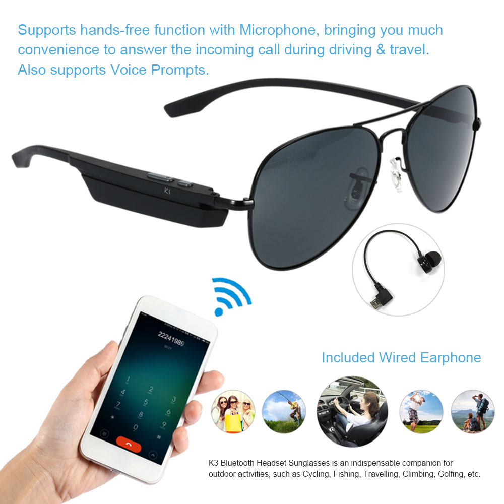 Bluetooth Wireless Sunglasses Wearphone Polarized Glasses Voice Control Phone Ca